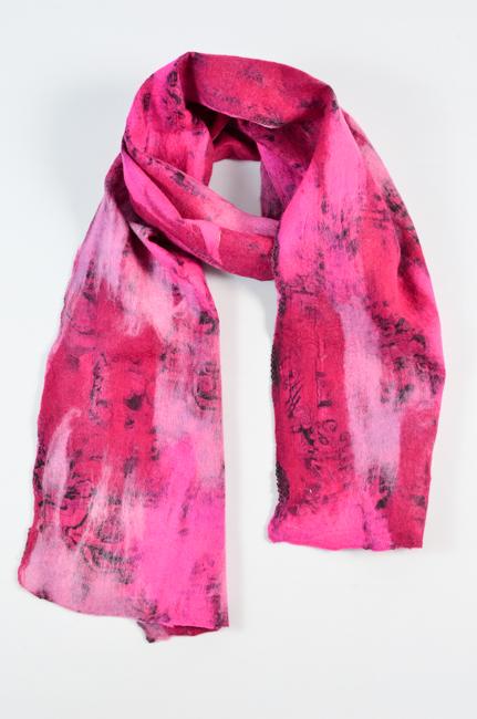 vilt op zijde roze-cerise