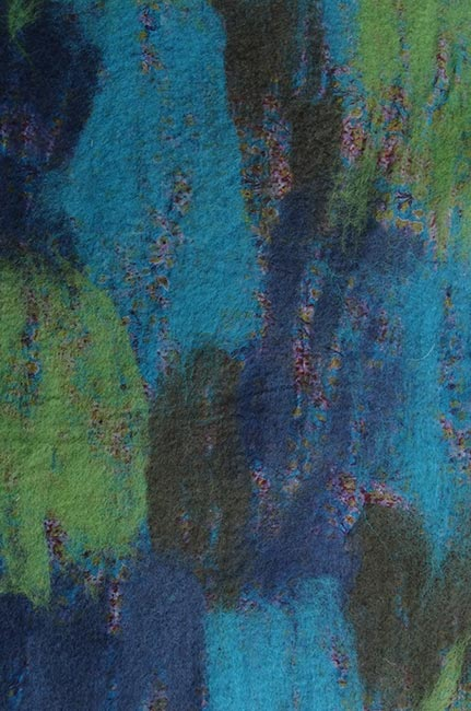 vilt op zijde turquoise-groen-blauw