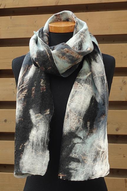 Vilt sjaal grijs-zwart