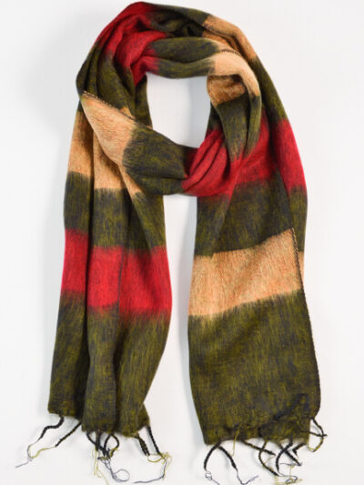 kleine sjaal green red beige