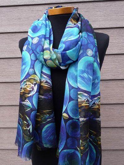 Bamboe sjaal blauwe mus