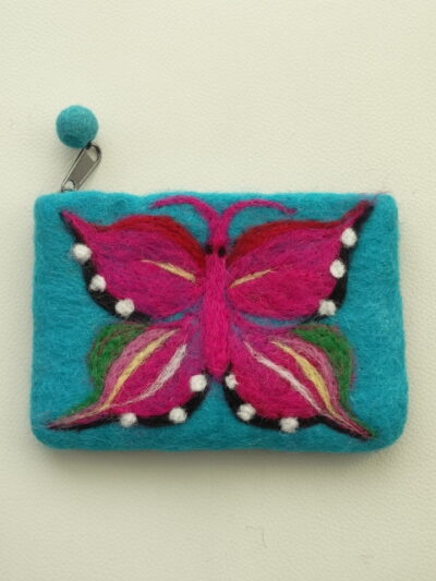 vilten beursje turquoise met vlinder