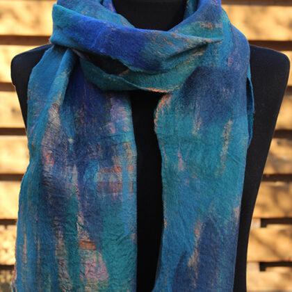 Vilt op zijde sjaal Petrol-Blauw