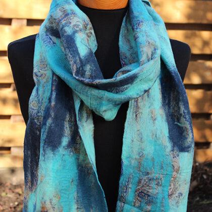 Vilt op zijde sjaal Turquoise-Blauw