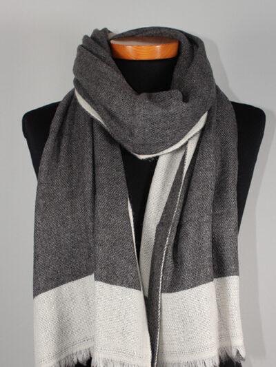 Dubbel geweven sjaal donker grijs