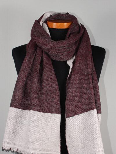 Dubbel geweven sjaal donker rood